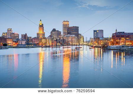 Providence, Rhode Island, USA city skyline on the Providence River at twilight. stock photo