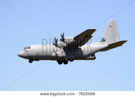 Royal Air Force C-130 Hercules flyby with open cargo door stock photo