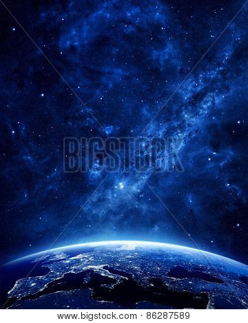 Earth At Night-Lg Fridge Magnet Skin (size 36x65)
