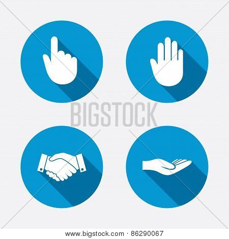 Hand icons. Handshake and click here symbols.