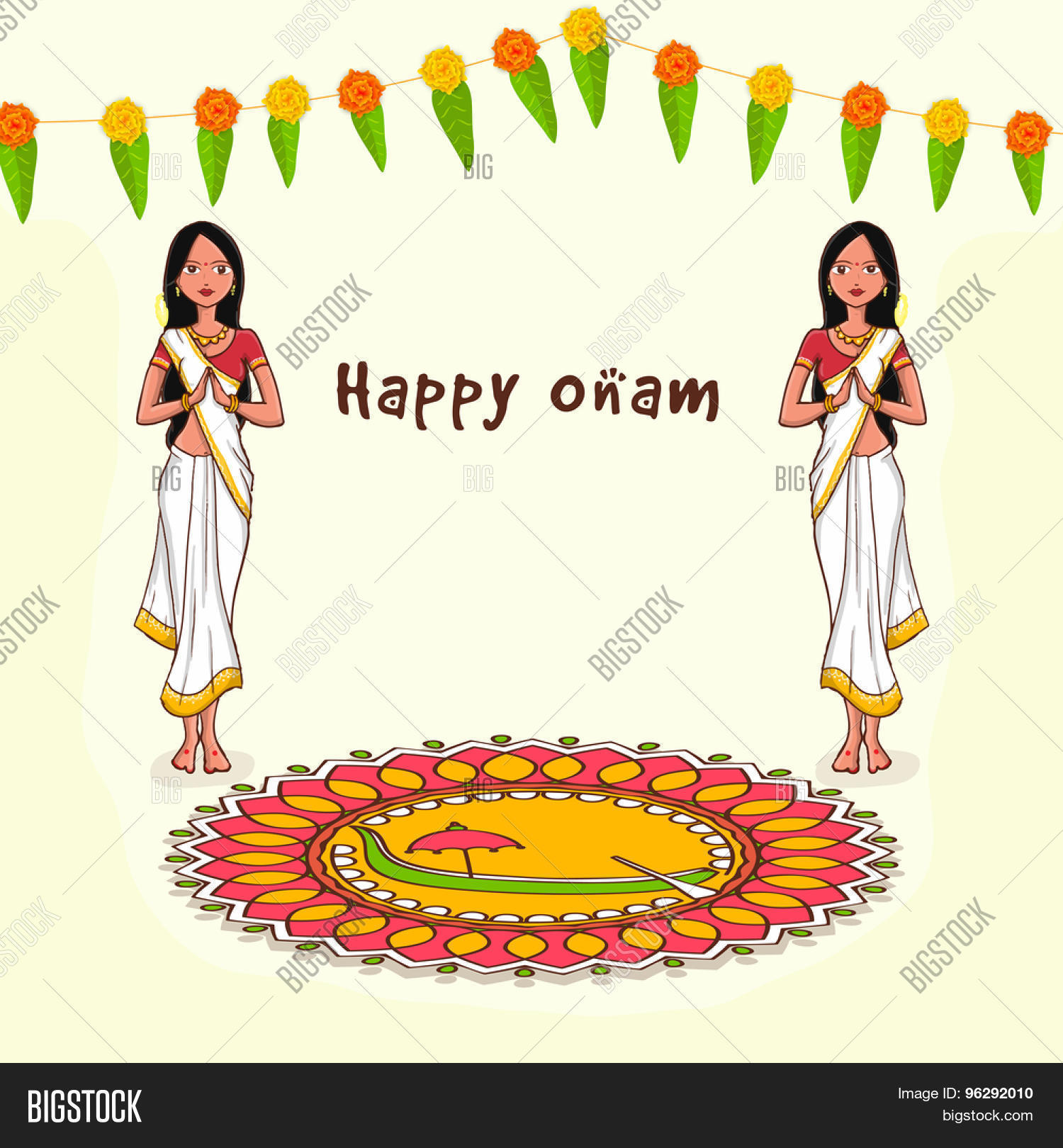 Beautiful Greeting Card With Young Women In Traditional Indian