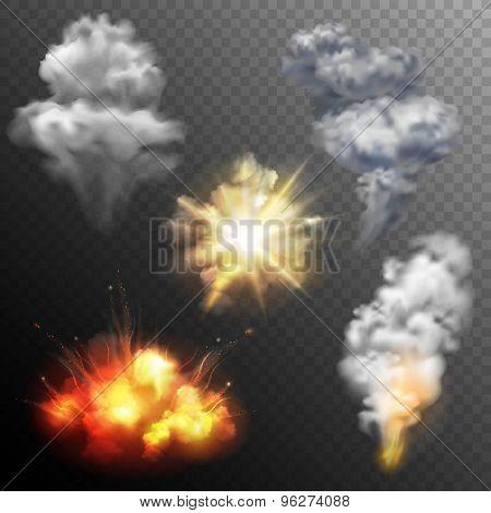 Firework blasts shapes set