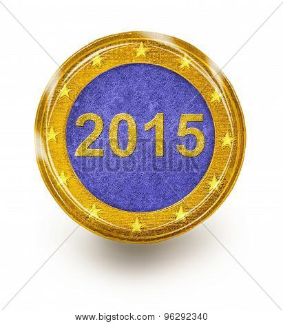 One Euro Coin on with 2015 written inside it stock photo