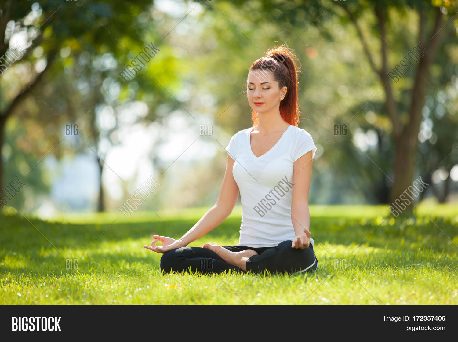 Yoga Outdoor Happy Woman Doing Yoga Exercises Meditate In The Park Yoga Meditation In Nature Con 172357406 Image Stock Photo