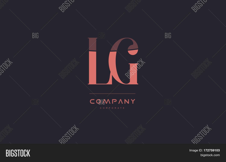 Lg L G Pink Vintage Retro Letter Company Logo Icon Design Photo Stock