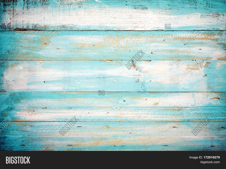 Wandplank Retro Cubes.Vintage Beach Wood Background Old Blue