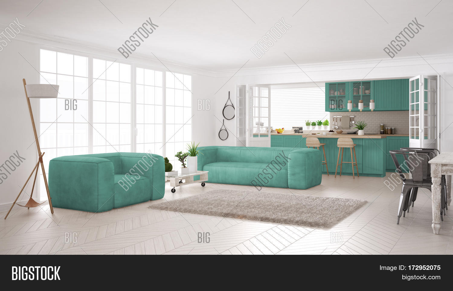 Minimalist White And Turquoise Living And Kitchen