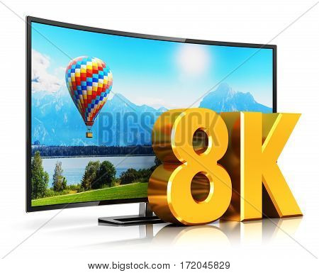 3D render illustration of curved 8K UltraHD resolution TV cinema or computer PC monitor display isolated on white background with reflection effect stock photo
