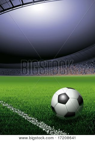 Football ball on the grass on the stadium with lights, vector illustration with copy space stock photo