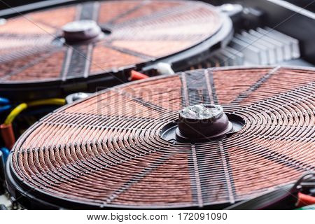 Copper electric coil macro detail  stock photo
