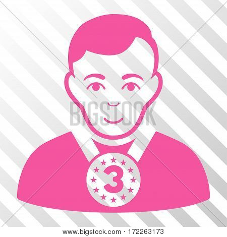 Pink 3rd Prizer Sportsman interface icon. Vector pictograph style is a flat symbol on diagonally hatched transparent background. stock photo