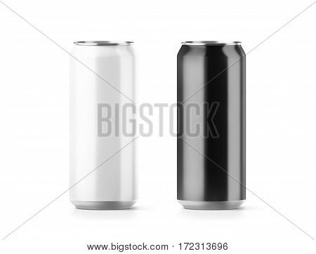 Blank big black and white aluminium soda can mockup set 3d rendering. Empty beer tin packing mock ups set isolated. Canned drink jar packaging design template. Plain fizzy pop bank package branding. stock photo