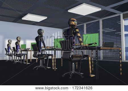 We are the robots, robots in a big office /3d rendering stock photo