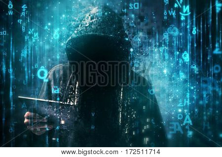Computer hacker with hoodie in cyberspace surrounded by matrix code online internet security identity protection and privacy
