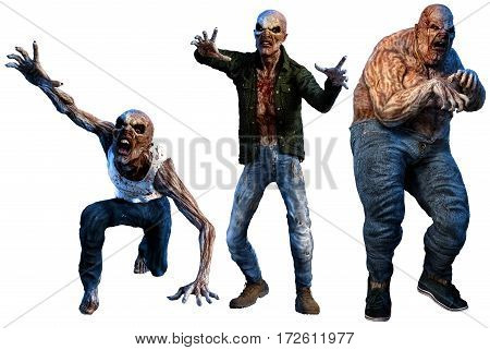 Zombies moving in to attack 3D illustration