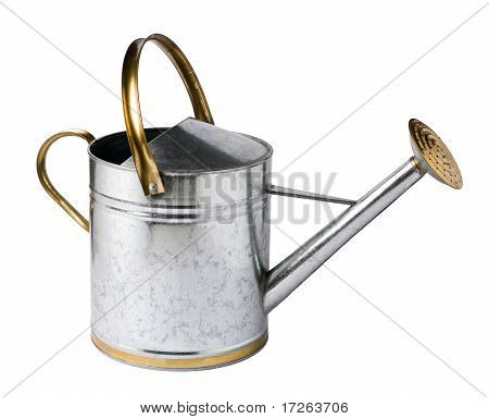 Aluminum silver watering can isolated on white stock photo