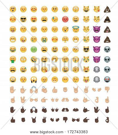 Set of emoticon vector isolated on white background Cats, aliens, hands, skulls, devils emoji
