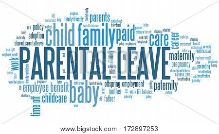 Parental leave - baby care employment benefit word cloud. stock photo