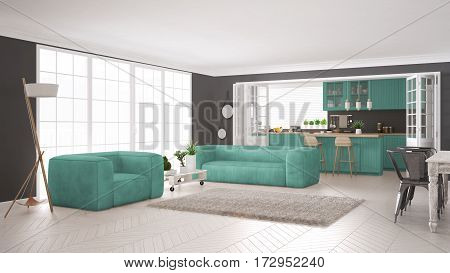 living, kitchen, home, design, modern, interior, furniture, table, apartment, minimalism, white, room, window, luxury, sofa, comfortable, chair, house, beige, parquet, daylight, contemporary, scandinavian, clean, residential, couch, residence, flat, nobod stock photo