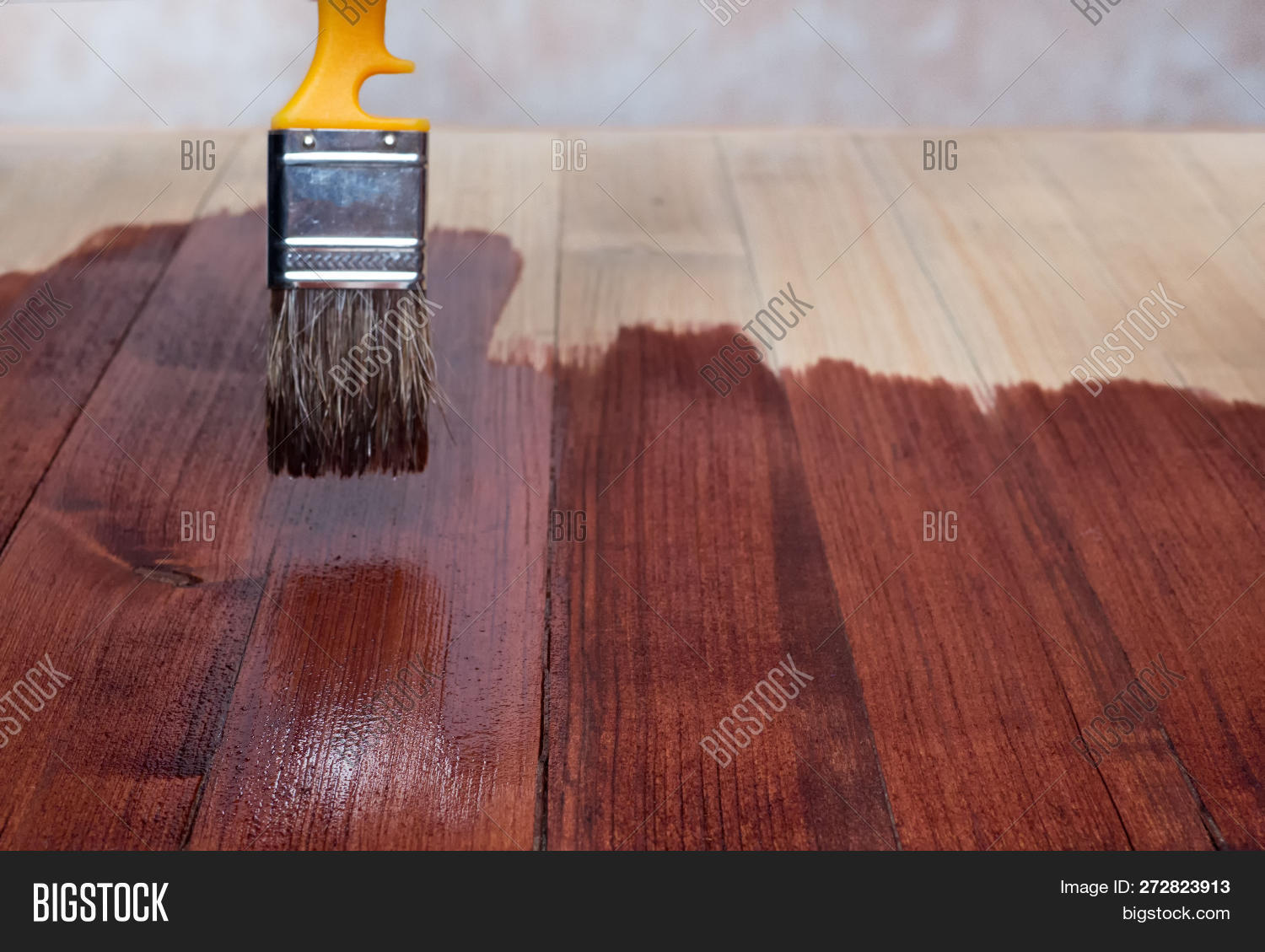 Close Up Hand Use Brush Paint Clear Lacquer On The Wood Surface. Different Colors Of Varnish Layers.