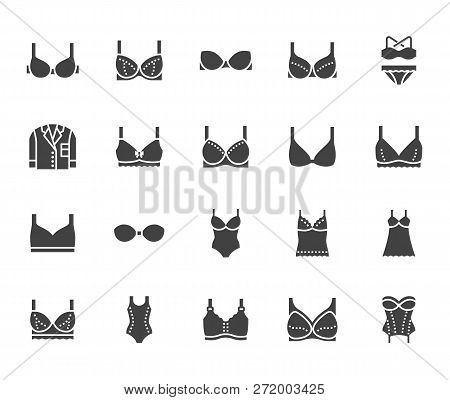 Lingerie flat glyph icons set. Bras types, woman underwear, maternity bra, chemise, pyjamas, swimwear, corset vector illustrations. Signs for clothes store. Solid silhouette pixel perfect 64x64 stock photo