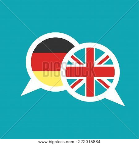 chat speech bubbles with english and german flags isolated on blue background. stock photo