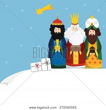 Christmas greeting card, invitation. Three magi bringing gifts and falling star. Biblical kings Caspar, Melchior, Balthazar and comet. Flat design, vector illustration background. Blank paper bannner. stock photo