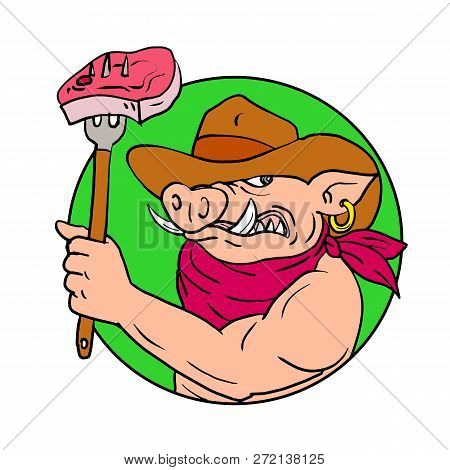 Drawing sketch style illustration of a cowboy hog, wild pig or wild boar holding a fork with barbecue steak set inside circle on isolated white background in color. stock photo