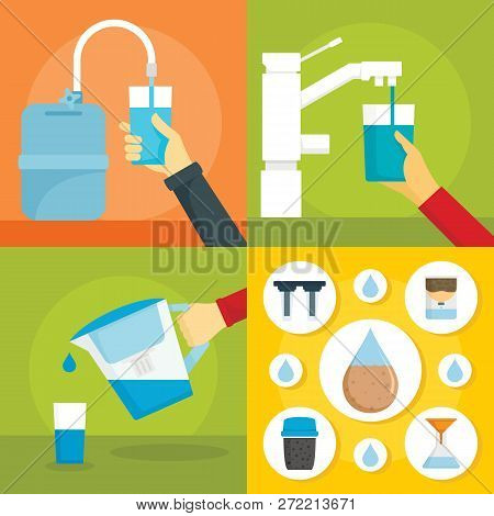 Home filter water banner set. Flat illustration of home filter water vector banner set for web design stock photo