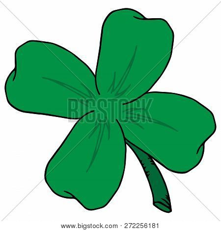 Vector clover leaves. Four leaf clover isolated on white, vector illustration for St. Patric day. stock photo