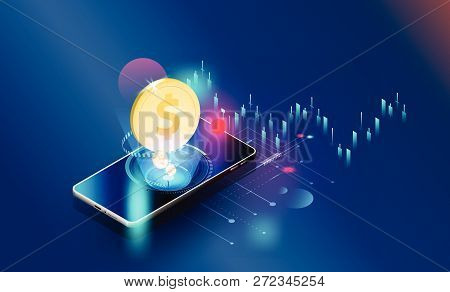 Global Network Financial Investment Economic Trends Background  Vector Futuristic,smartphones Contro