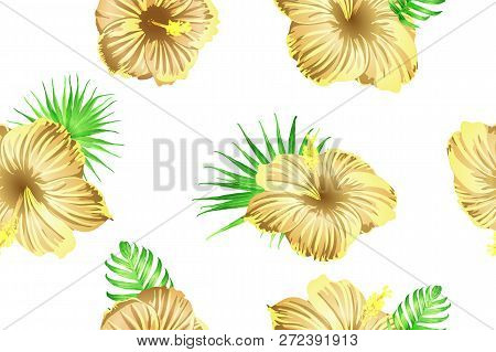 Green yellow exotic pattern. Monstera and hibiscus flowers tropical bouquet.  Saturated large floral swimwear print. Horizontal romantic wild vector exotic tile. Bonny spring botanical design. stock photo