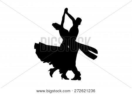 dance sport ballroom dancing couple dancers black silhouette stock photo