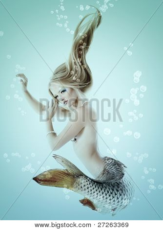 mermaid beautiful magic underwater mythology being original photo compilation-Dishwasher Magnet Skin (size 24x24)