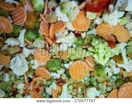 Colorful Food Background. Fresh Frozen Vegetables, Top View.  Vegetables Background Textures.  Assorted Frozen Vegetables. stock photo