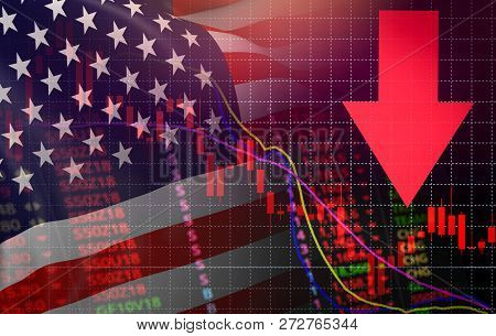 USA. America market stock crisis red price arrow down chart fall New york Stock Exchange market analysis forex graph business finance money crisis losing moving down America usa flag stock photo