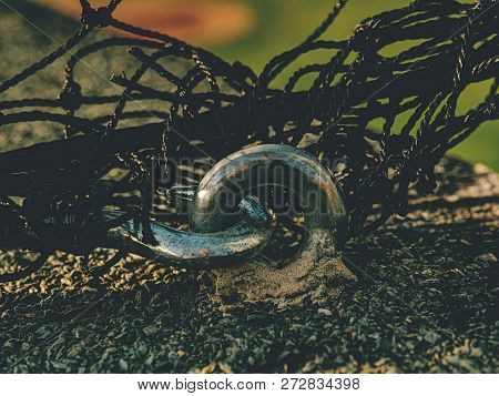 The end knot of steel rope. Stainless steel turnbuckle and sling steel in base. Detail of steel bolt anchor eye in ground stock photo