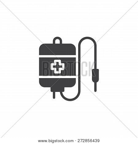 Blood Transfusion Bag vector icon. filled flat sign for mobile concept and web design. Medicine blood bag simple solid icon. Blood donation symbol, logo illustration. Pixel perfect vector graphics stock photo