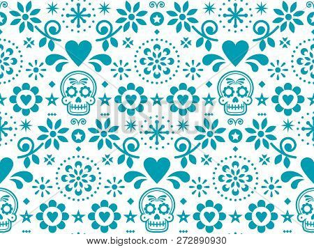 Sugar skull vector seamless pattern inspired by Mexican folk art, Dia de Los Muertos repetitive design in turquoise on white background.    Calavera and flowers decoration inspired by decor form Mexico, floral ornament with cute skulls stock photo