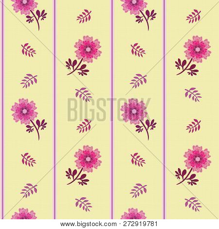 Elegant pink flowers, leaves and stripes in vertical seamless vector halfdrop repeat pattern on soft yellow background. Gret for fabrics, home decor, scrapbooking, stationery, wallpaper stock photo