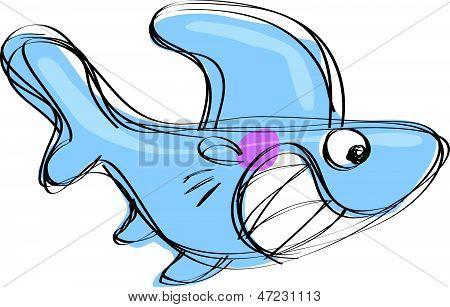 Dessin animé bébé requin dans un style de dessin enfantin naif