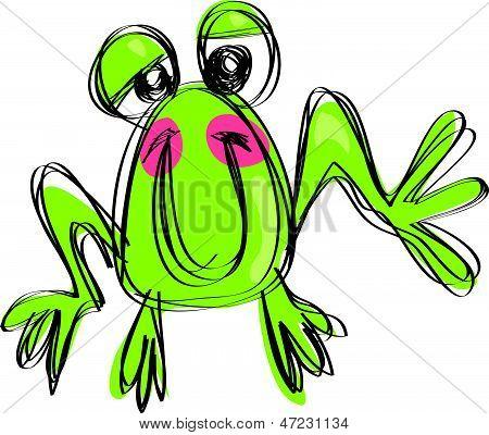 Dessin animé bébé souriant grenouille dans un style de dessin enfantin naif