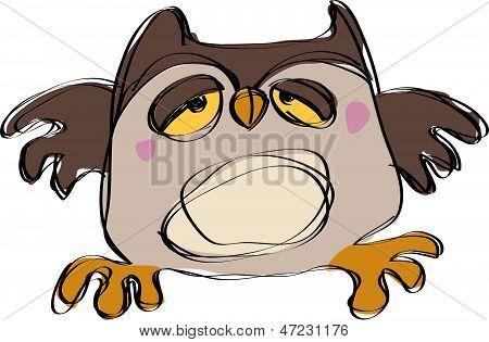 Dessin animé brun bébé hibou dans un style de dessin enfantin naif