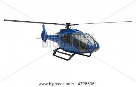 Modern blue helicopter on a white background stock photo