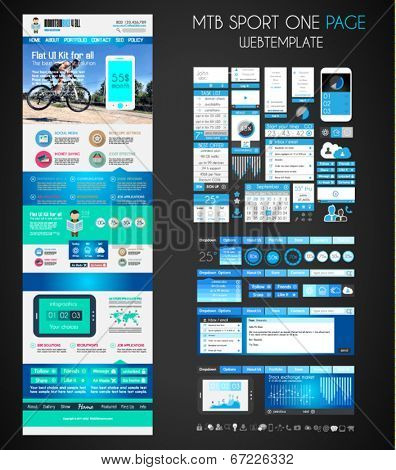 One page SPORT website flat UI design template. It include a lot of flat stlyle icons, forms, header, footeer, menu, banner and spaces for pictures and icons all in one page. stock photo