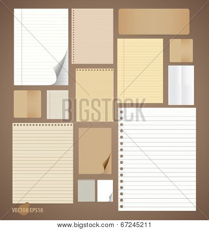 Collection of different vintage paper plans (paper sheets, lined paper and note paper). Vector illus