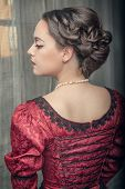 Beautiful Medieval Woman In Red Dress