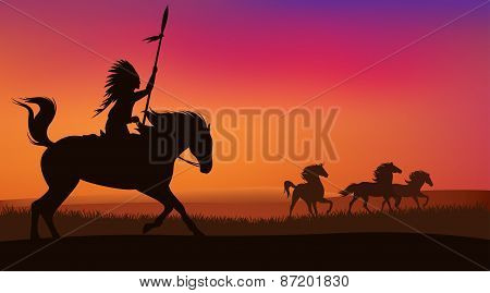 wild west scene with horses and native american rider - vector landscape with silhouettes stock photo