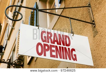 Grand Opening sign in a conceptual image stock photo