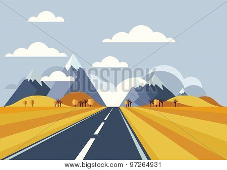 Vector Landscape Background. Road In Golden Yellow Wheat Field, Mountains, Hills, Clouds On The Sky.